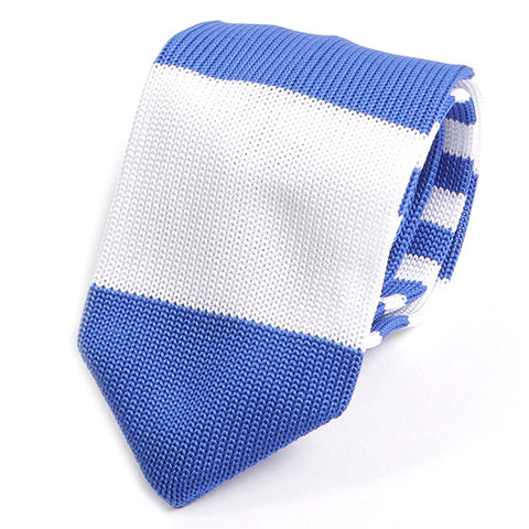 Blue And White Block Knitted Tie - Handmade Silk Wool And Knitted Ties by Tie Doctor