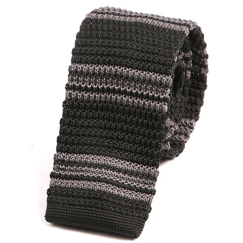 Black and Grey Striped Knitted Tie - Handmade Silk Wool And Knitted Ties by Tie Doctor