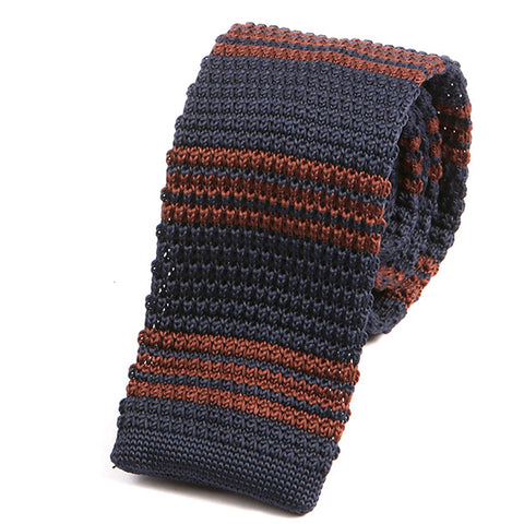 Navy and Brown Striped Knitted Tie - Handmade Silk Wool And Knitted Ties by Tie Doctor