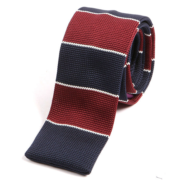 Rich Red & Navy Block Knitted Tie