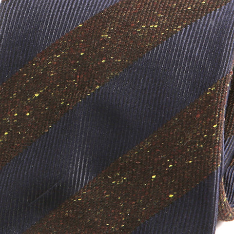 Navy Striped Grain Wool Tie