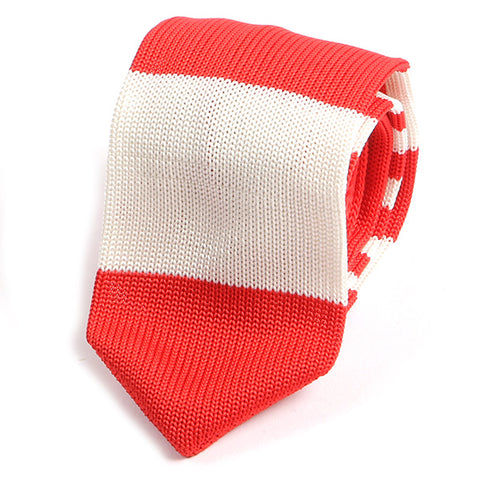 Candy Red Block Knitted Tie - Handmade Silk Wool And Knitted Ties by Tie Doctor
