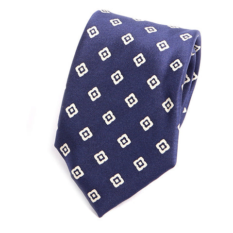 Navy Blue Diamond Motif Print Silk Tie - Handmade Silk Wool And Knitted Ties by Tie Doctor