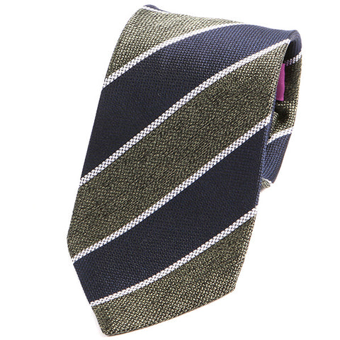 Navy and Green Weave Silk Tie - Handmade Silk Wool And Knitted Ties by Tie Doctor