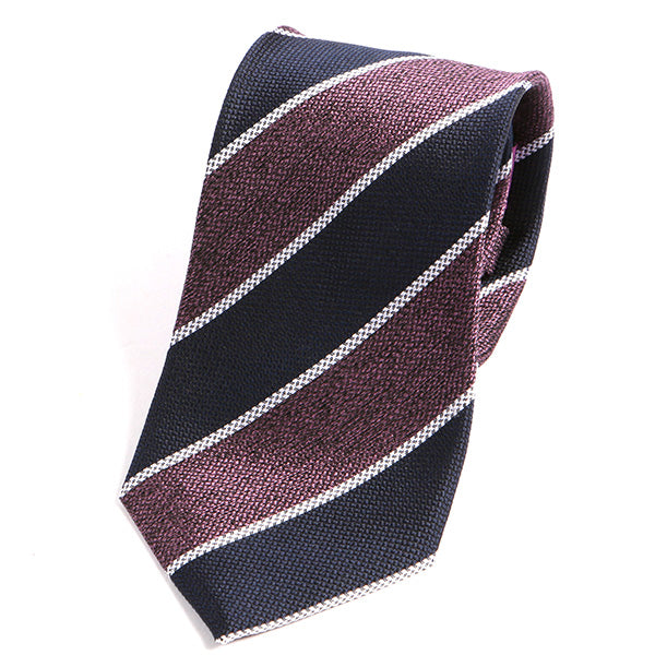 Navy and Purple Striped Weave Silk Tie - Handmade Silk Wool And Knitted Ties by Tie Doctor