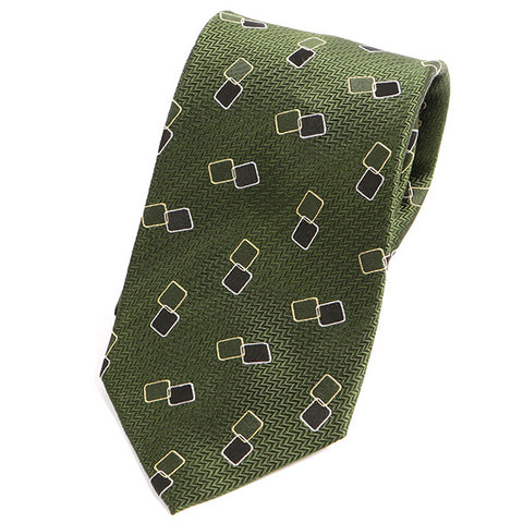 Green Rectangle Motif Silk Tie - Handmade Silk Wool And Knitted Ties by Tie Doctor
