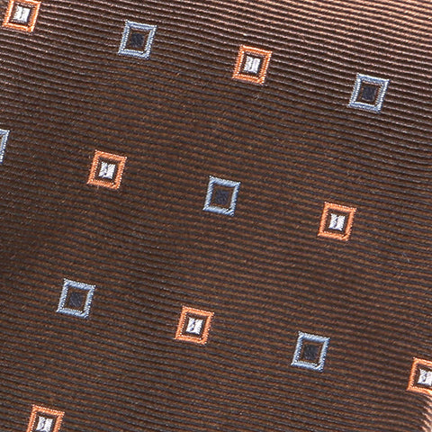 Cinnamon Brown Cubed Silk Tie - Handmade Silk Wool And Knitted Ties by Tie Doctor