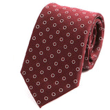 Burgundy Red Circle Print Silk Tie - Handmade Silk Wool And Knitted Ties by Tie Doctor