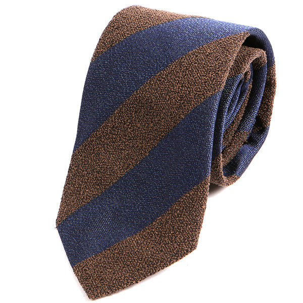 Navy and Brown Textured Striped Silk Tie - Handmade Silk Wool And Knitted Ties by Tie Doctor