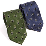 Navy Rectangle Motif Silk Tie