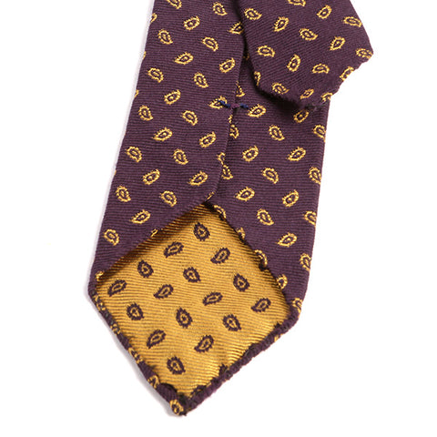 Mulberry Purple Paisley Wool Tie - Handmade Silk Wool And Knitted Ties by Tie Doctor