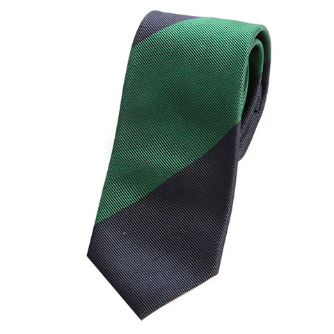 Navy Green Thick Striped Silk Tie - Handmade Silk Wool And Knitted Ties by Tie Doctor
