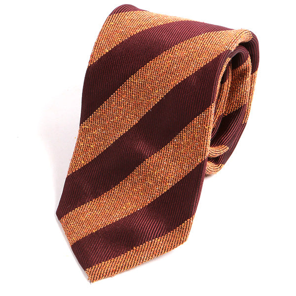Amber Orange Striped Silk Tie - Handmade Silk Wool And Knitted Ties by Tie Doctor