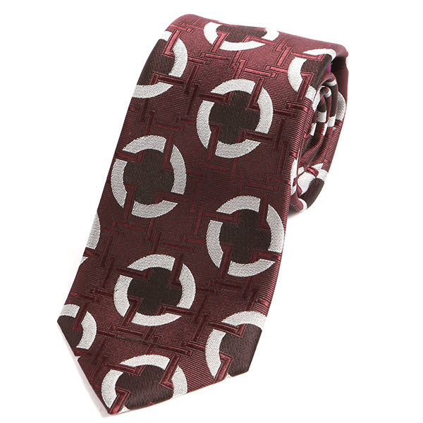 Rosewood Red Big Circles Silk Tie