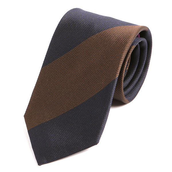 Navy Brown Thick Striped Silk Tie - Handmade Silk Wool And Knitted Ties by Tie Doctor