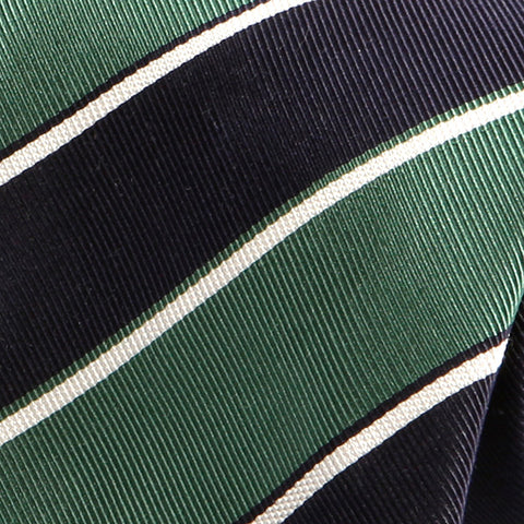 Navy And Emerald Green Striped Silk Tie - Handmade Silk Wool And Knitted Ties by Tie Doctor