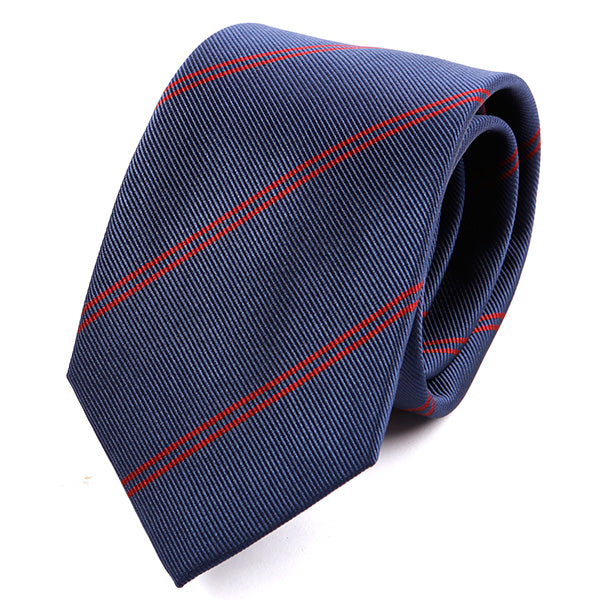 Dark Blue & Red Stripe Silk Tie
