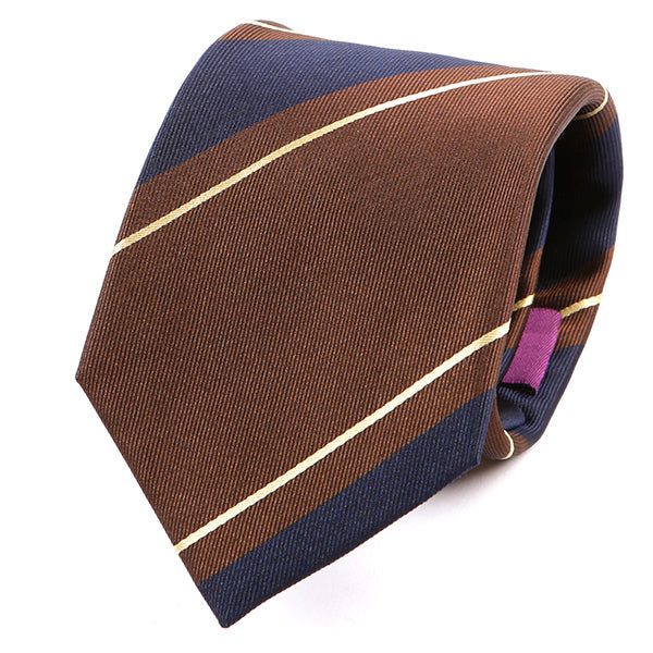 Brown & Navy Silk Tie