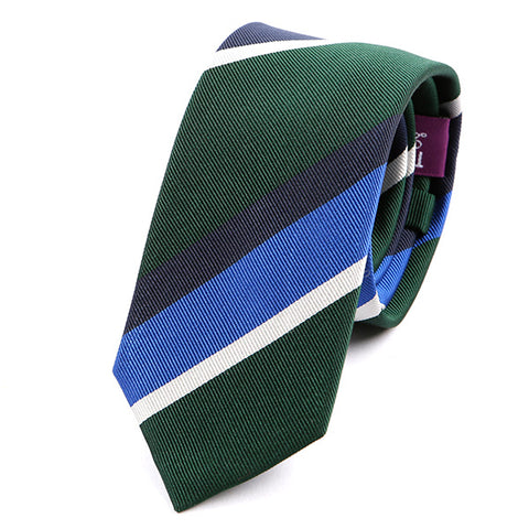Green Striped Slim Silk Tie
