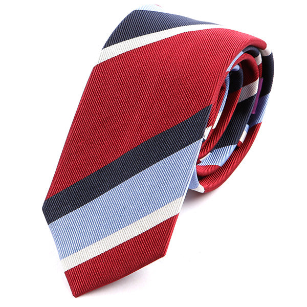 Red Striped Slim Silk Tie