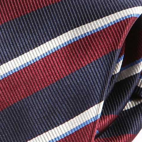 Burgundy Red Striped Slim Silk Tie