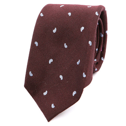 Burgundy Red Bold Paisley Textured Silk Tie