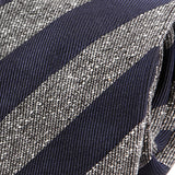 NAVY & GREY STRIPED GRAIN SILK & WOOL TIE