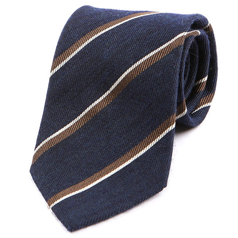 Blue Striped Wide Wool Tie