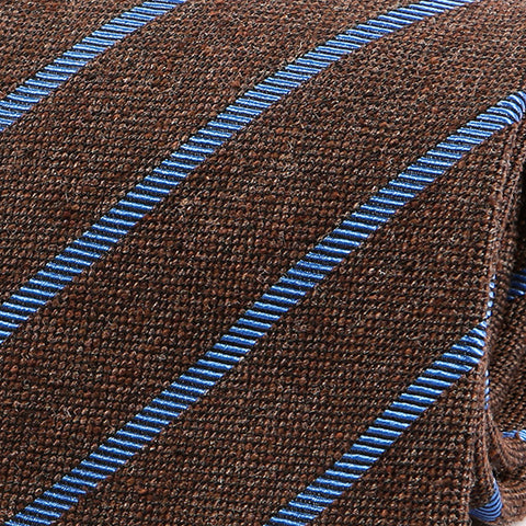 Brown & Blue Striped Wool Tie