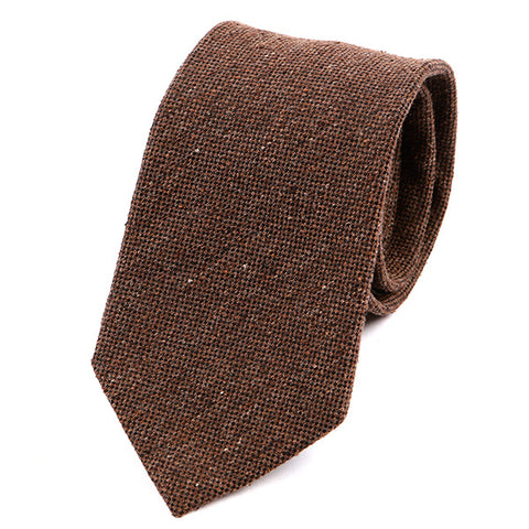 Brown Grain Wide Wool Tie
