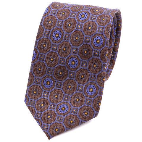 Brown & Purple Vintage Macclesfield Wide Wool Tie