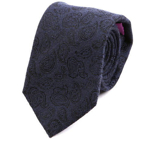Oxford Navy Blue Paisley Wide Wool Tie