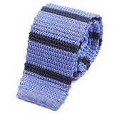 Violet Blue Striped Silk Knitted Tie