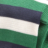 Green Striped Double Sided Silk Knitted Tie