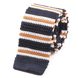 Navy And Orange Silk Knitted Tie