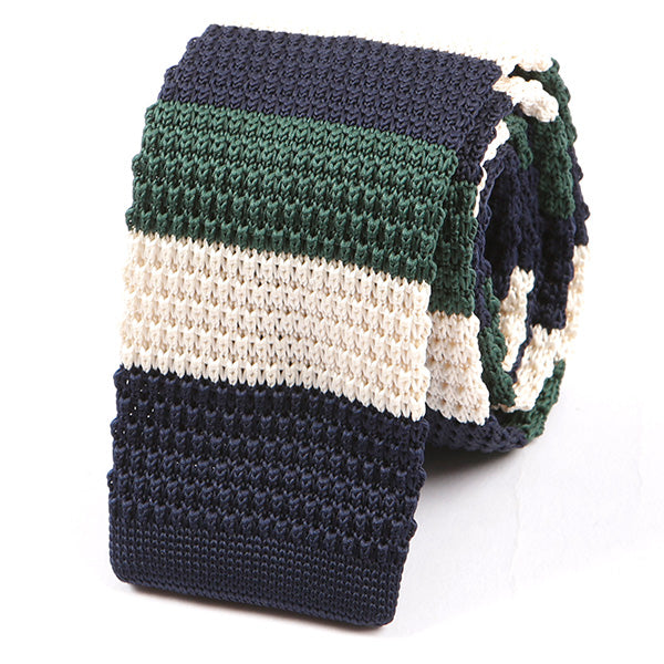 Green and Navy Knitted Tie