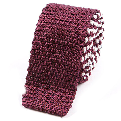 Wine Double Sided Striped Silk Knitted Tie