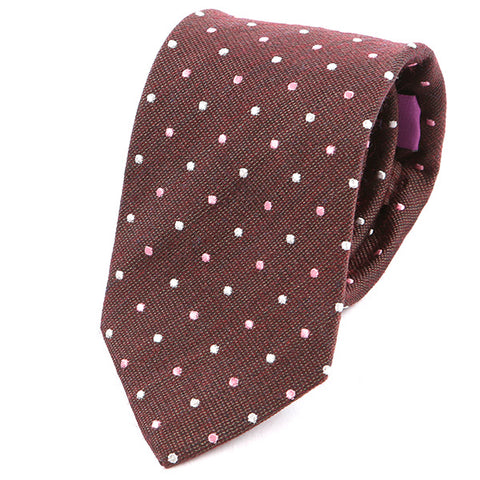 Cedar Brown & Pink Dot Silk & Wool Tie