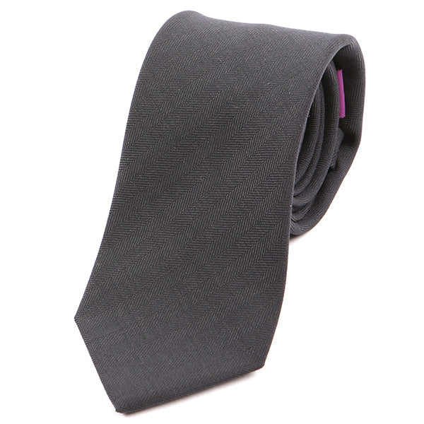 Dark Grey Slim Silk Tie