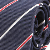Navy Red Lined Slim Tie