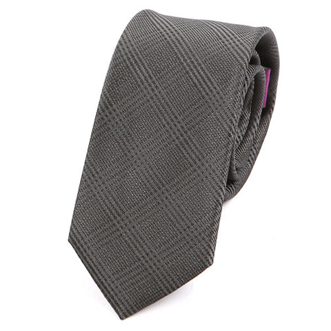 Dark Grey Check Silk Slim Tie