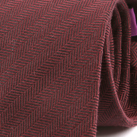 Burgundy Plain Textured Wool Tie