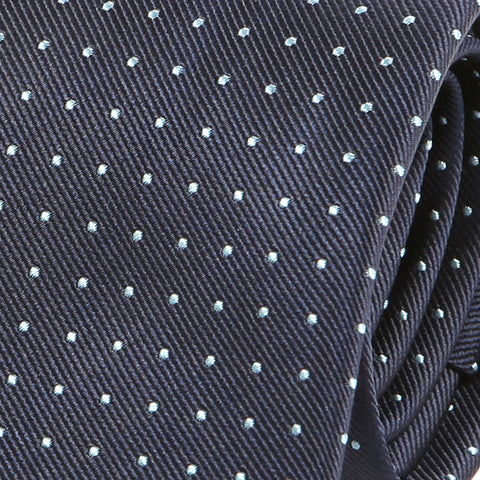 Navy Blue Mint Polka Dot Silk Tie