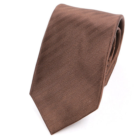 Brown Striped Silk Tie