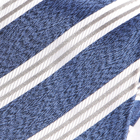 Blue And White Striped Silk Tie