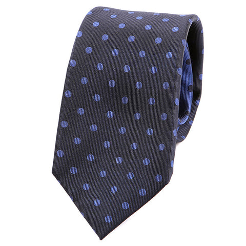 Dark Blue Polka Dot Silk Tie