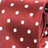 Dark Red Polka Dot Silk Tie