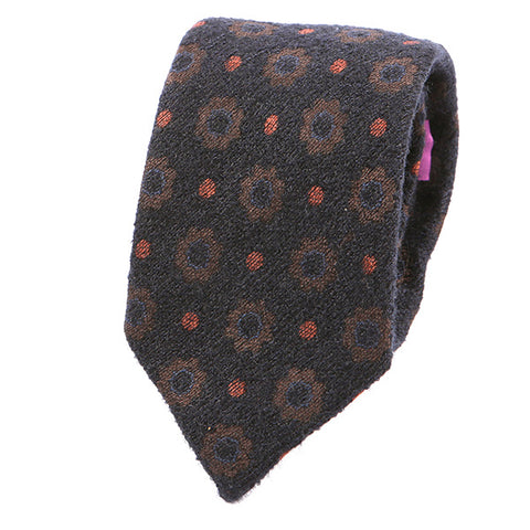 Orange Polka Dot Vintage Wool Tie