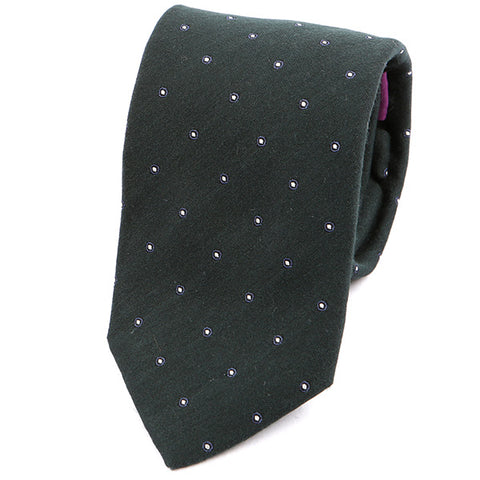 Dark Green Italian Wool Tie