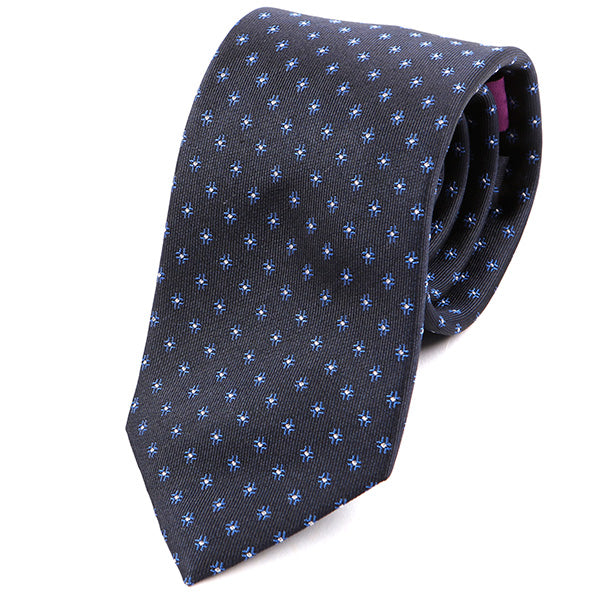 Black Silk Tie With Blue Polka Dots